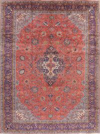 Vintage Floral Coral Red Sarouk Persian Area Rug 10x13