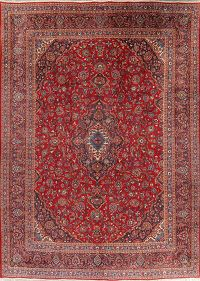 Traditional Floral Red Mashad Persian Area Rug 9x13