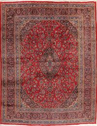 Traditional Floral Red Mashad Persian Area Rug 10x13