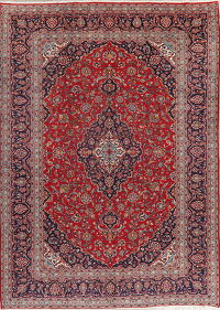 Antique Floral Red Kashan Persian Area Rug 10x13