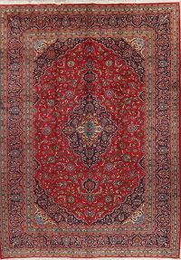 Traditional Floral Red Kashan Persian Wool Area Rug 10x14