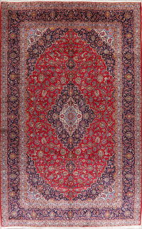 Traditional Floral Red Kashan Persian Wool Rug 10x16