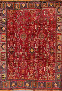 Vintage Red Tribal Kashkoli Persian Area Rug 5x6