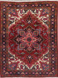 Geometric Red Heriz Persian Wool Area Rug 5x7