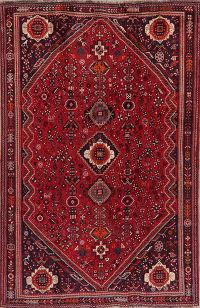 Vintage Tribal Geometric Shiraz Persian Area Rug 5x8