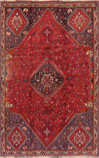 Vintage Geometric Red Abadeh Persian Area Rug 5x8