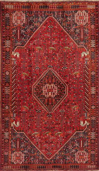 Vintage Tribal Red Geometric Abadeh Persian Area Rug 5x8