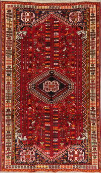Tribal Red Geometric Shiraz Persian Area Rug 5x8