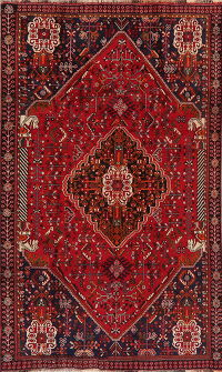Tribal Red Geometric Abadeh Persian Area Rug 5x8