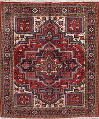Geometric Red Heriz Persian Wool Rug 5x6