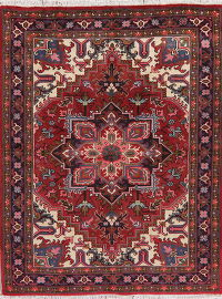 Geometric Red Heriz Persian Wool Area Rug 5x6