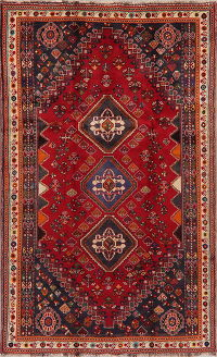 Tribal Red Geometric Abadeh Nafar Persian Area Rug 5x9