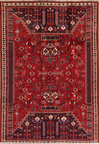 Tribal Red Geometric Kashkoli Persian Area Rug 6x9