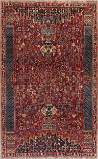 Vintage Tribal Red Kashkoli Persian Wool Area Rug 5x8