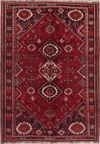 Vintage Tribal Red Shiraz Persian Wool Area Rug 8x11