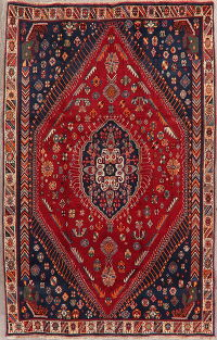 Vintage Red Tribal Abadeh Nafar Persian Area Rug 5x8