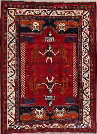 Tribal Red Shiraz Persian Wool Area Rug 6x8