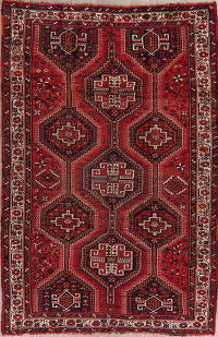 Antique Tribal Red Geometric Lori Persian Area Rug 5x8