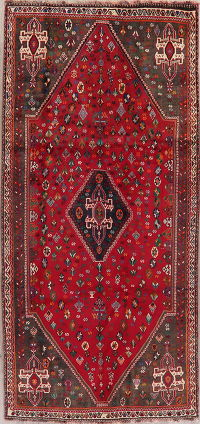 Red Tribal Geometric Abadeh Persian Runner Rug 4x9