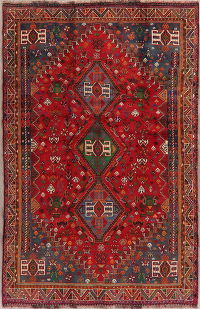 Red Tribal Geometic Abadeh Nafar Persian Wool Rug 6x9