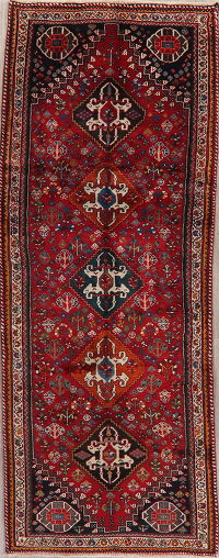 Red Tribal Geometric Abadeh Nafar Persian Runner Rug 4x10