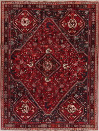 Tribal Geometric Red Abadeh Persian Wool Area Rug 7x9