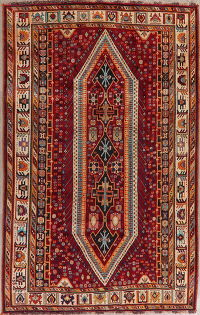 Red Tribal Geometric Kashkoli Persian Area Rug 5x8