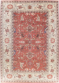 Geometric Red Heriz Indian Oriental Wool Area Rug 10x14
