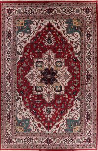Geometric Red Heriz Indian Oriental Wool Rug 12x18