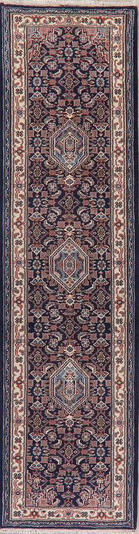 Navy Blue Geometric Bidjar Indian Oriental Wool Rug