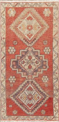 Vintage Red Geometric Oushak Turkish Wool Rug 1x3