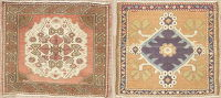 Set of 2 Geometric Oushak Turkish Wool Rugs 2x2 Square