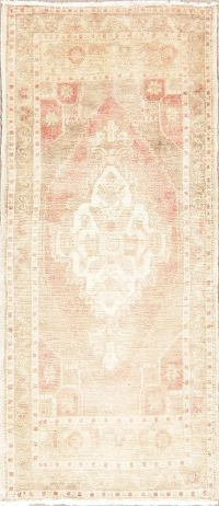 Muted Distressed Vintage Oushak Turkish Wool Rug 2x4