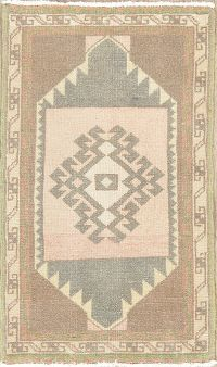 Vintage Ivory Geometric Oushak Turkish Wool Rug 2x3