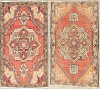 Set of 2 Vintage Oushak Turkish Oriental Wool Rugs 2x3