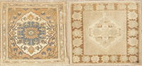 Set of 2 Vintage Oushak Turkish Wool Rugs 2x2 Square