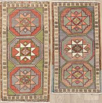 Set of 2 Geometric Oushak Turkish Oriental Wool Rugs 2x3