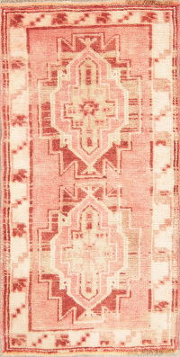 Muted Distressed Geometric Oushak Turkish Wool Rug 2x3