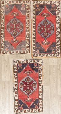 Set of 3 Vintage Geometric Oushak Turkish Wool Rugs 2x3