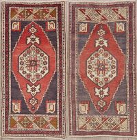 Set of 2 Vintage Geometric Oushak Turkish Wool Rugs 2x3