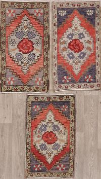 Set of 3 Geometric Oushak Turkish Oriental Wool Rugs 2x3