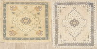Set of 2 Oushak Turkish Oriental Wool Rug 2x2 Square