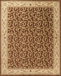 Brown Floral Aubusson Turkish Oriental Area Rug 8x10