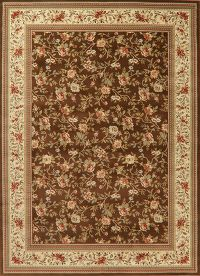 Floral Brown Aubusson Turkish Oriental Area Rug 8x11