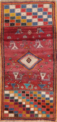 Tribal Geometric Gabbeh Shiraz Persian Runner Rug 3x6