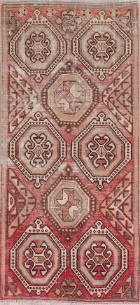 Geometric Vintage Red Bakhtiari Persian Runner Rug 3x7