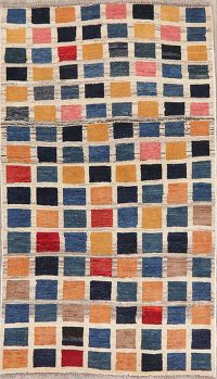 Checked Multi-Color Gabbeh Shiraz Persian Rug 3x5