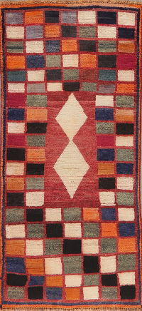 Vintage Checked Gabbeh Shiraz Persian Runner Rug 3x6
