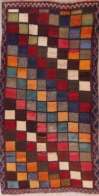 Vintage Multi-Color Gabbeh Shiraz Persian Runner Rug 3x6