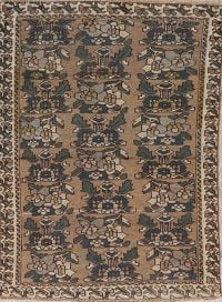 Vintage Brown Geometric Bakhtiari Persian Wool Rug 4x6